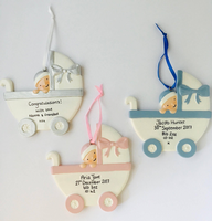 Personalised Baby in a Pram - Silver - New Baby Keepsake Gift